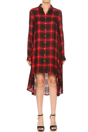 Flowing Plaid Dress