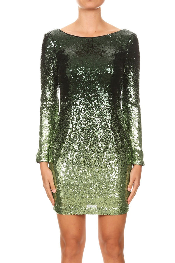Gradiant Sequin Bodycon Dress
