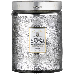 HOLIDAY LARGE GLASS JAR CANDLE WHITE CURRANT & ALPINE LACE