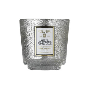 HOLIDAY PETITE EMBOSSED GLASS PEDESTAL CANDLE WHITE CURRANT & ALPINE LACE
