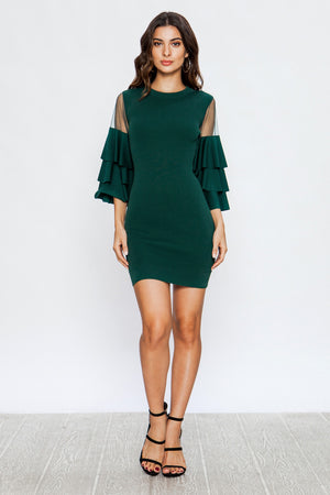 KNIT DRESS TIERED RUFFLED SLEEVES
