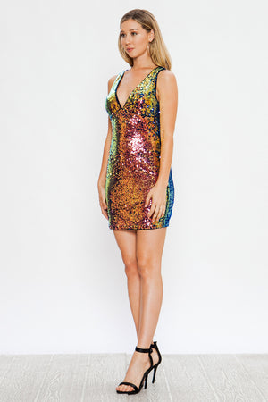 Colors Of The Rainbow Sequins Dress