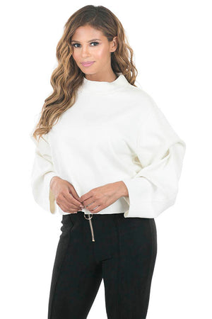 FAUX SUEDE TACKING SLEEVE TOP
