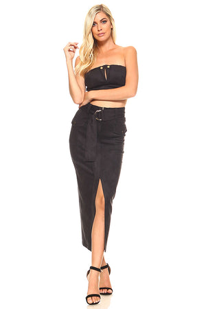 Faux Suede Crop Bandau Top