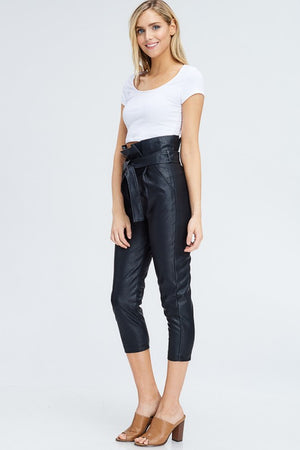 Faux Leather Highwaist Tie Pant