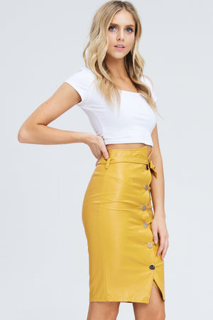 Highwaist Faux Leather Button Front Skirt