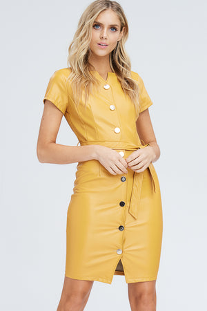 Faux Leather Button Up Shift Dress