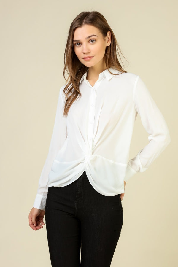 Buttondown Blouse with Twist Front