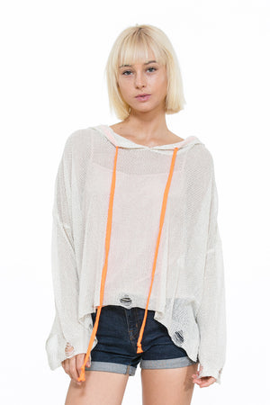 Distressed Lurex Knit Pullover