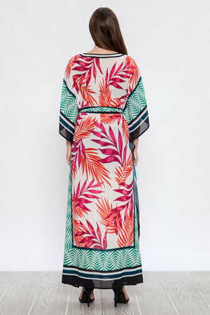Print On Print Kaftan Maxi Dress