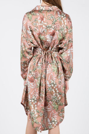Floarl Faux Shirt Dress
