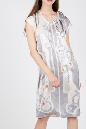 Scarf Print Dress with Sash