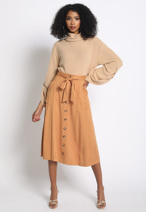 Button Front Safari Skirt
