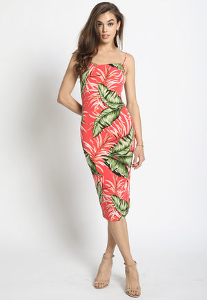 Cowl Neck Tropical Print Slip Dress