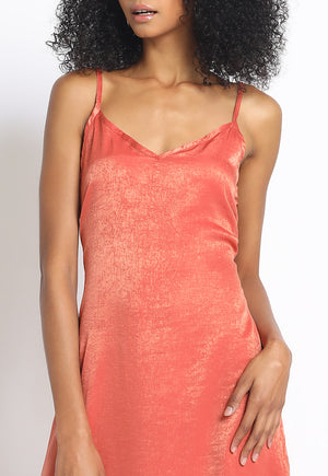 Washed Satin Slip Dress
