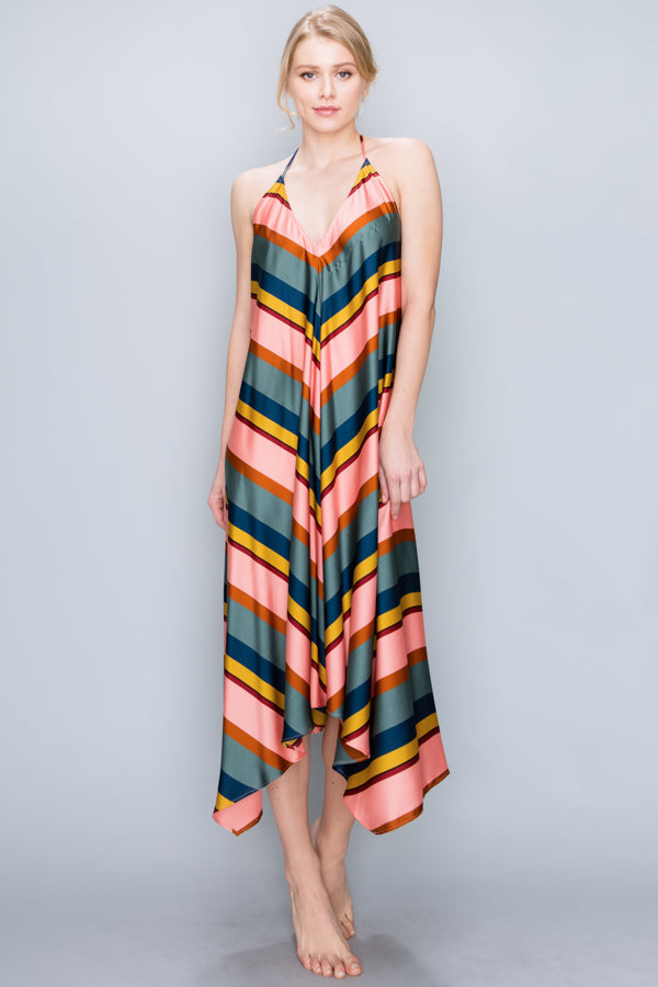 Candy Stripe Scarf Dress