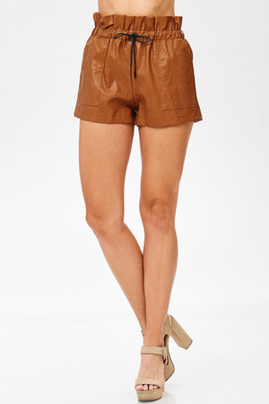 Faux Leather Tie Waist Shorts