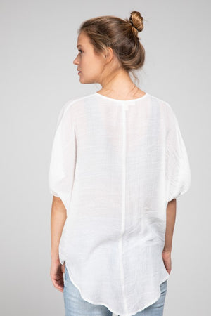Drape Front High Low Blouse
