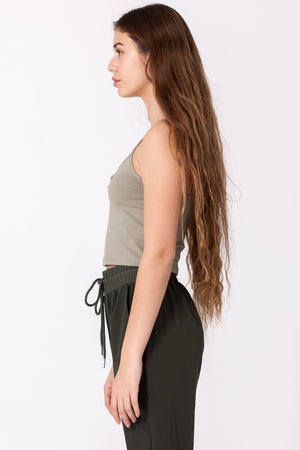 Button Front Crop Cami Tank