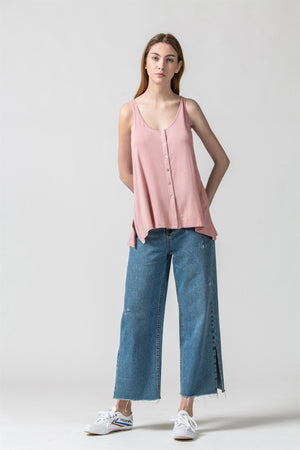 Button Front Roll Hem Tank Top