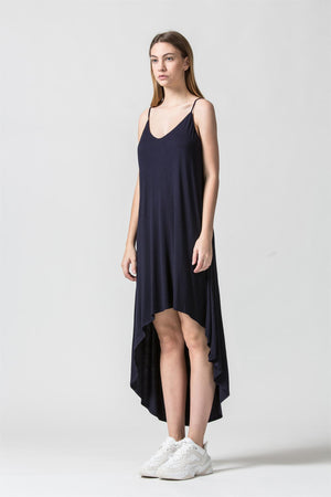 Deep V Cami High Low Dress