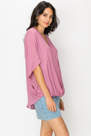 Faux Wrap Cross Over Blouse
