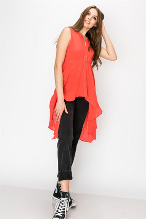 Sleevless High Low Tunic