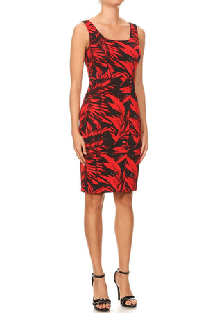 Bodycon Leaf Tank Print Dress