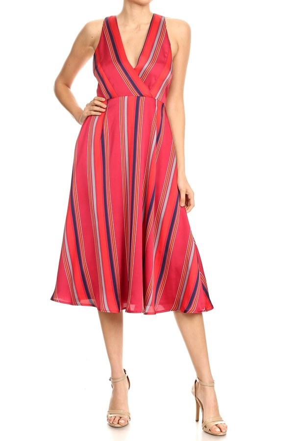 Mixed Stripes Midi Swing Dress