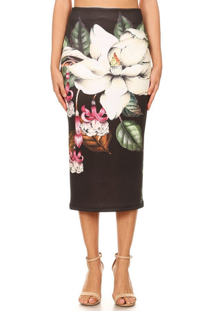 Super Bloom Midi Pencil Skirt