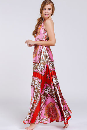 Halterneck Tie Back Maxi Dress