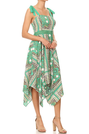 Asymmetrical Scarf Print Dress With Ties