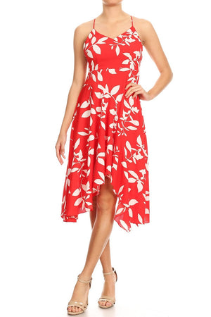 Leaf Print Summer Dress