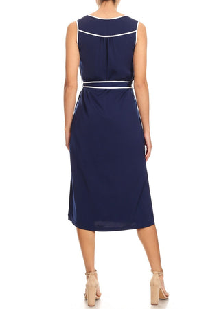 Piped Sleeveless Midi Dress