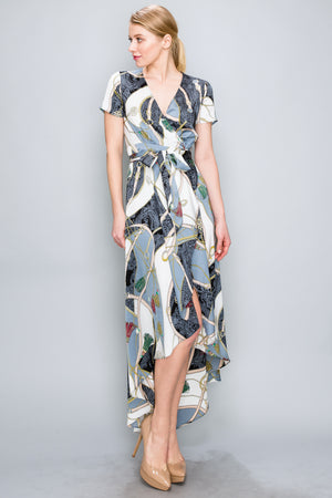 Royal Print Wrap Maxi Dress