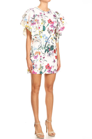 Floral Shift Dress with Flutter Sleeves