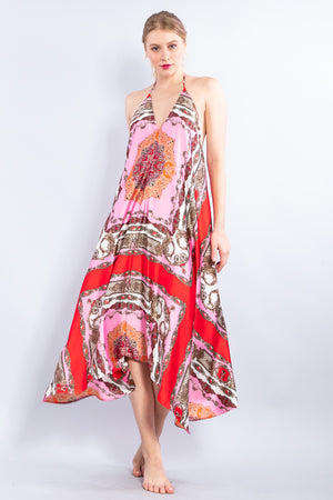 Halter Scarf Dress with Tassels