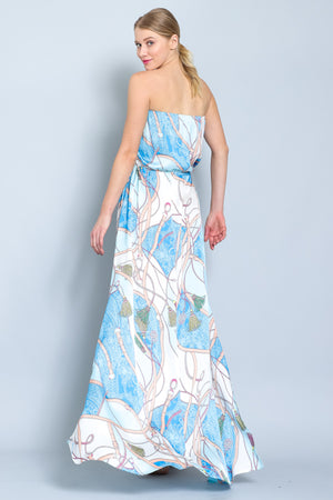 Royal Print Strapless Maxi Dress
