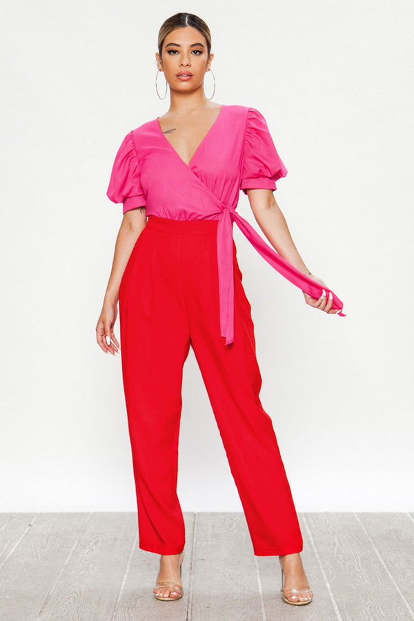 Colorblock Side Tie Jumpsuit