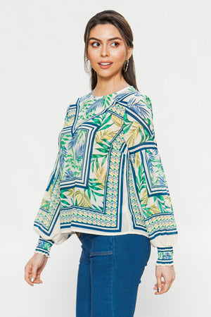 Mixed Print Graphic Blouse