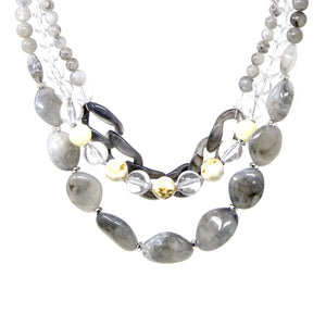 Layered Link & Bead Statement Necklace