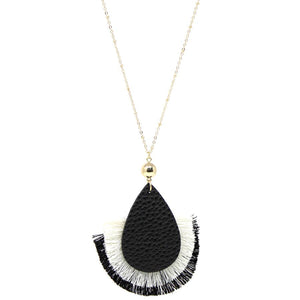 Leather Drop with Fringe Necklace