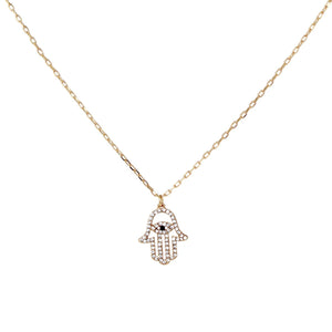 Mini Diamond Hamza Necklace