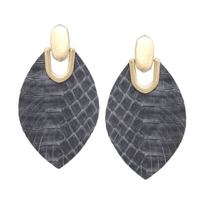 Faux Croc Feather Earrings