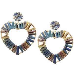 Rafia Woven Hear Earrings