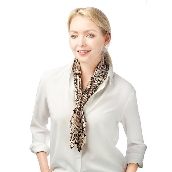 Pleated Tie Neck Animal Scarf