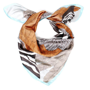 Zebra Feather Faux Silk Scarf