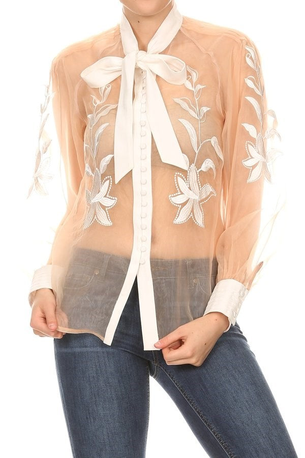 Floral Embroidered Tie Neck Blouse