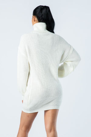 Big Knit Turtleneck Sweater Dress