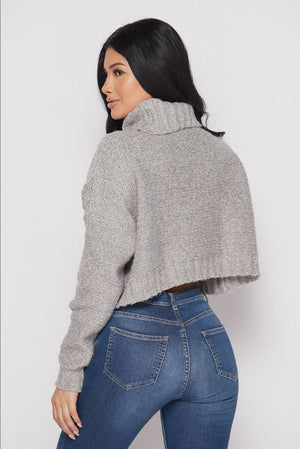 Wide Turtleneck Crop Sweater